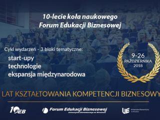 Nadchodzi cykl wydarzeń z okazji 10-lecia Koła Naukowego Forum Edukacji Biznesowej - prelekcje, spotkania, wystąpienia, wykłady