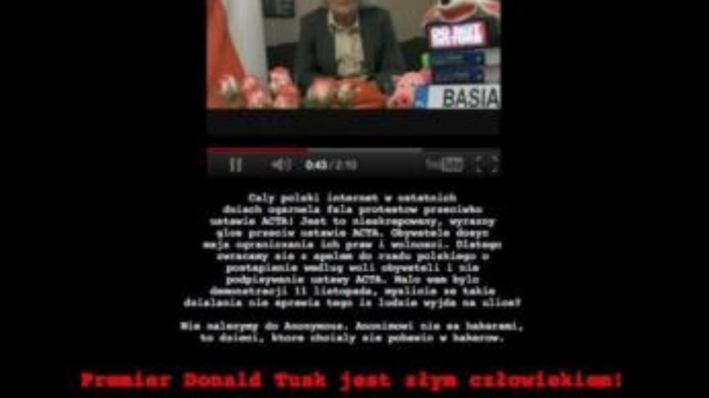 Stop ACTA: strona premiera zhakowana!