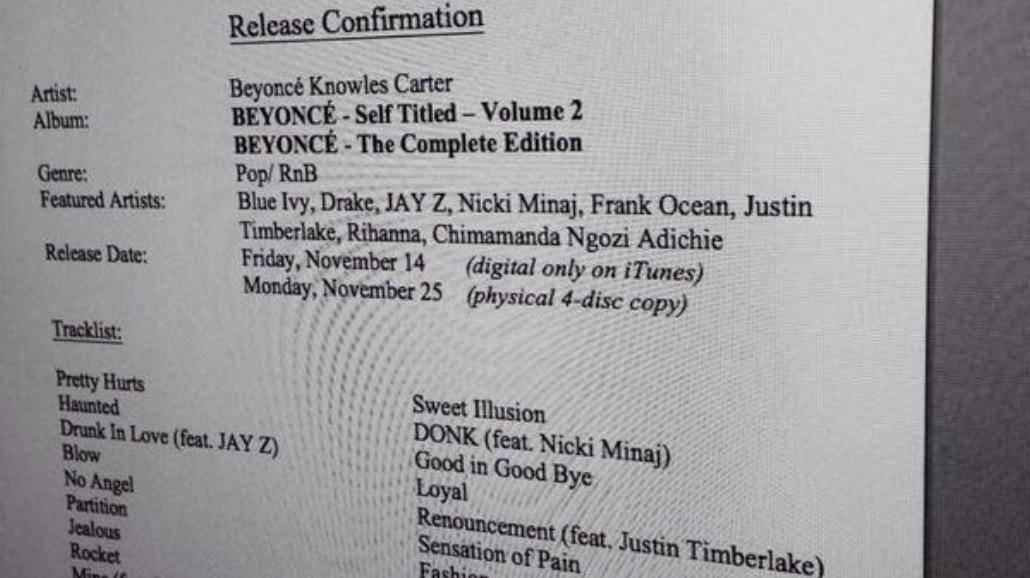 Wyciekł dokument. Beyonce wyda nową płytę jeszcze w tym roku?
