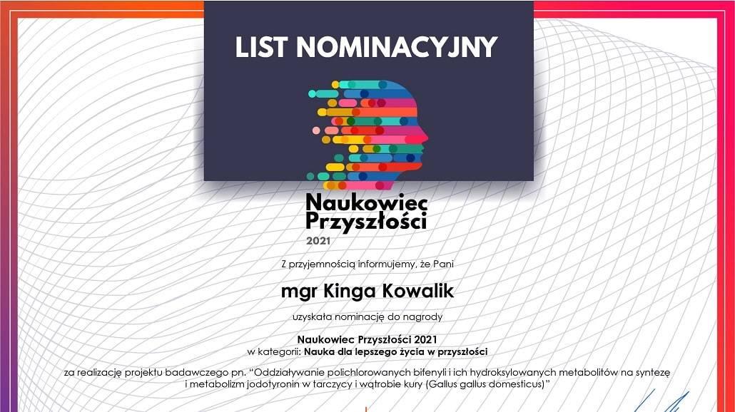 mgr Kinga Kowalik - Naukowiec Przyszłości 2021 nominacja